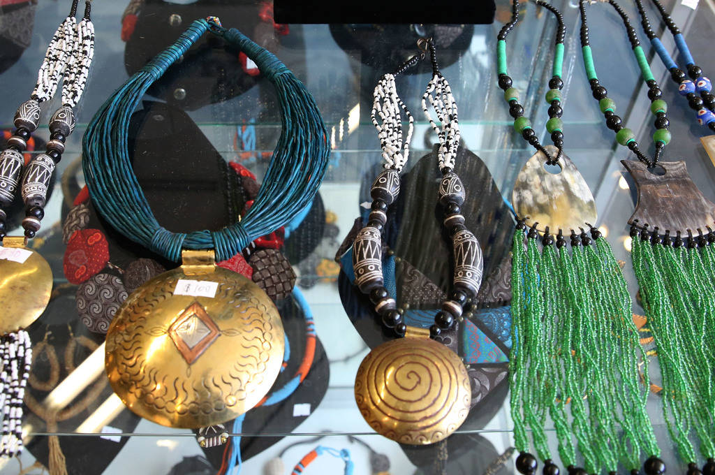 Traditional African jewelries are displayed at Africa Love, gift and decor store, at Town Square on Friday, Feb. 15, 2019, in Las Vegas. (Bizuayehu Tesfaye/Las Vegas Review-Journal) @bizutesfaye