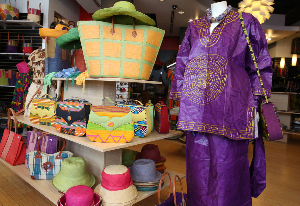 Traditional African clothing and hand bags are displayed at Africa Love, gift and decor store, at Town Square on Friday, Feb. 15, 2019, in Las Vegas. (Bizuayehu Tesfaye/Las Vegas Review-Journal) @ ...