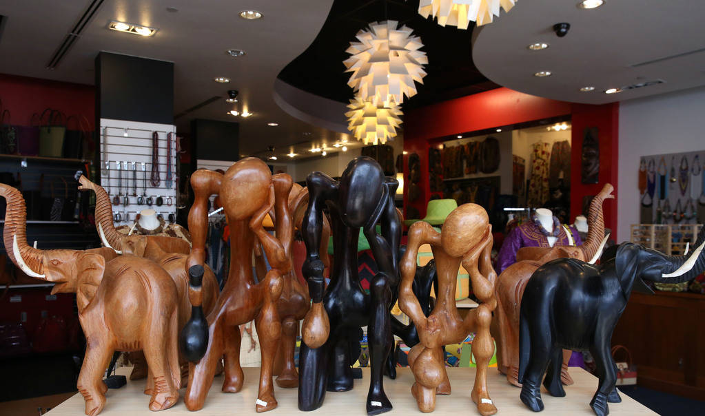 Hand carved wooden African sculptures are displayed at Africa Love, gift and decor store, at Town Square on Friday, Feb. 15, 2019, in Las Vegas. (Bizuayehu Tesfaye/Las Vegas Review-Journal) @bizut ...
