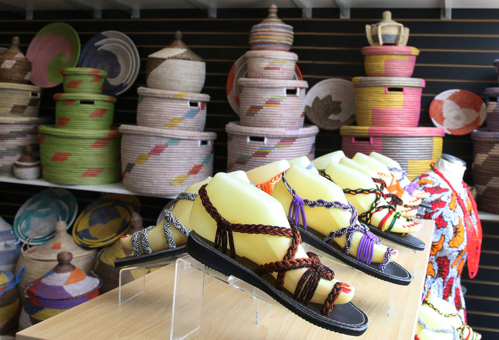 Traditional African shoes and baskets are displayed at Africa Love, gift and decor store, at Town Square on Friday, Feb. 15, 2019, in Las Vegas. (Bizuayehu Tesfaye/Las Vegas Review-Journal) @bizut ...