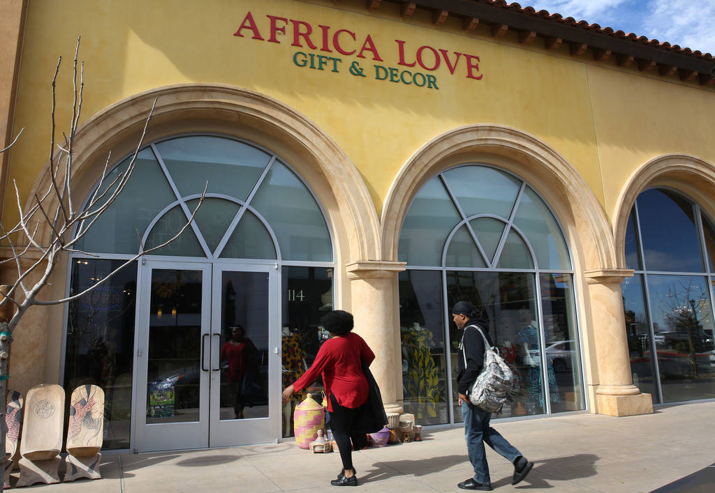 Customers enter Africa Love, gift and decor store, at Town Square on Friday, Feb. 15, 2019, in Las Vegas. (Bizuayehu Tesfaye/Las Vegas Review-Journal) @bizutesfaye