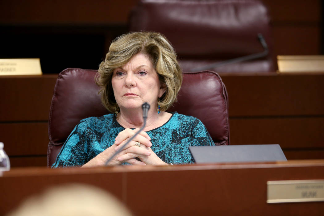 Assemblywoman Connie Munk, D-Las Vegas, listens to testimony during an Education Committee meeting in the Legislative Building in Carson City Tuesday, Feb. 5, 2019. (K.M. Cannon/Las Vegas Review-J ...
