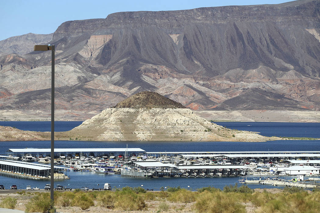Boats docked at Las Vegas Boat Harbor at Lake Mead National Recreation Area on Tuesday, Aug. 15, 2017. (Chase Stevens/Las Vegas Review-Journal)