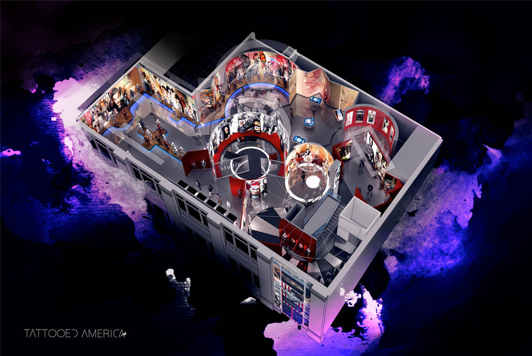 A rendering of Pop Vegas: Tattoo'd America at The Linq on the Las Vegas Strip. (The Vox Agency)