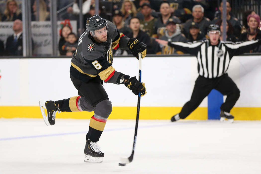 Vegas Golden Knights defenseman Colin Miller (6) takes a shot against the Nashville Predators during the first period of an NHL hockey game at T-Mobile Arena in Las Vegas, Saturday, Feb. 16, 2019. ...