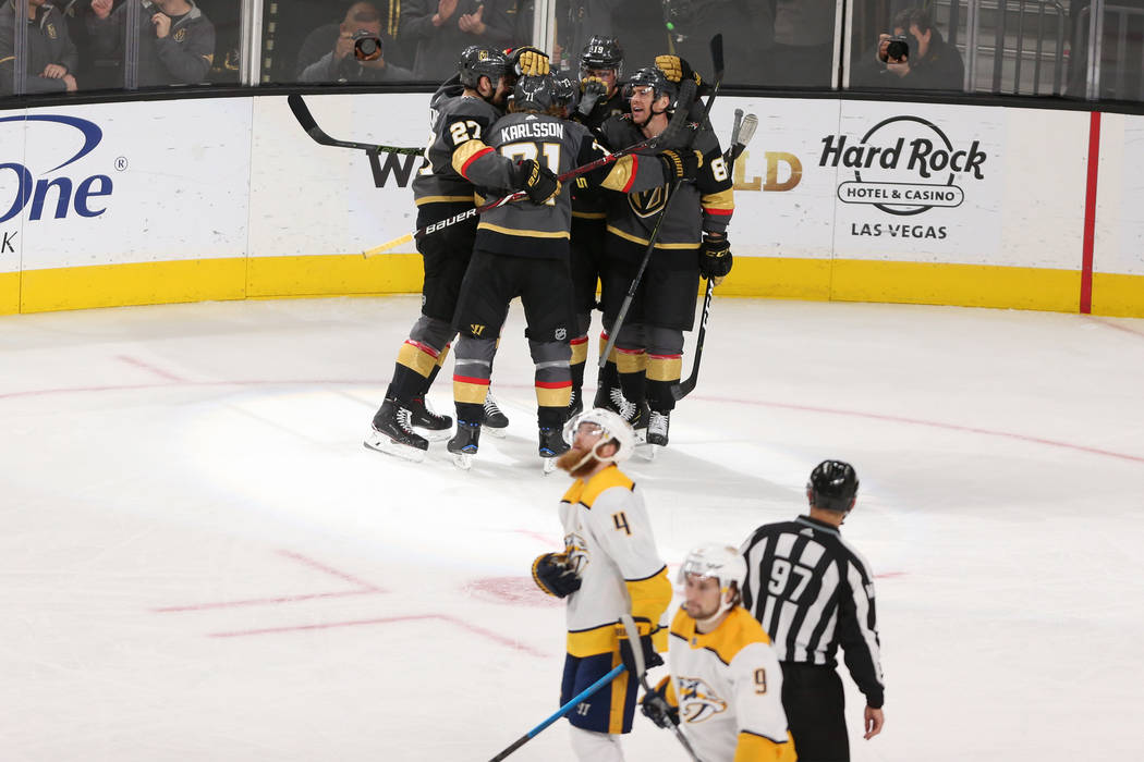 The Vegas Golden Knights celebrate a score by center Brandon Pirri (73)  during the 013f52153