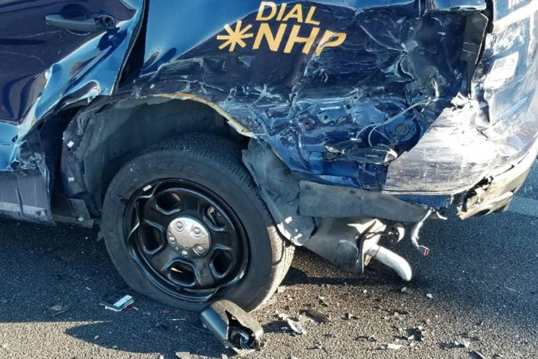 A Nevada Highway Patrol car was involved in a crash Saturday morning. (NHP Southern Command/Twitter)