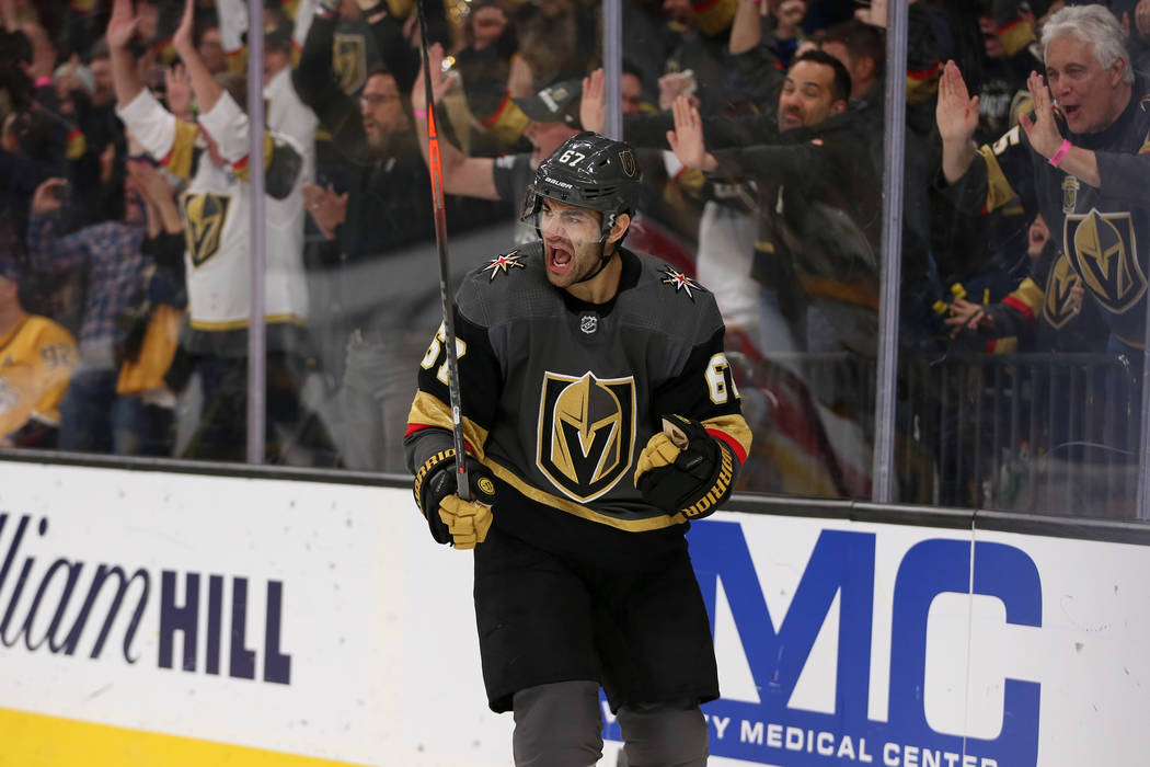 Vegas Golden Knights left wing Max Pacioretty (67) celebrates his score against Nashville Predators during the first period of an NHL hockey game at T-Mobile Arena in Las Vegas, Saturday, Feb. 16, ...