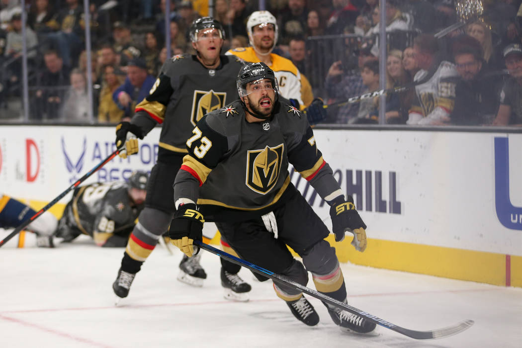 Vegas Golden Knights center Brandon Pirri (73) keeps his eyes on a puck in the air during the first period of an NHL hockey game against the Nashville Predators at T-Mobile Arena in Las Vegas, Sat ...