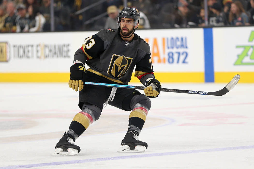 Vegas Golden Knights center Brandon Pirri (73) waits for a pass against the Nashville Predators during the first period of an NHL hockey game at T-Mobile Arena in Las Vegas, Saturday, Feb. 16, 201 ...