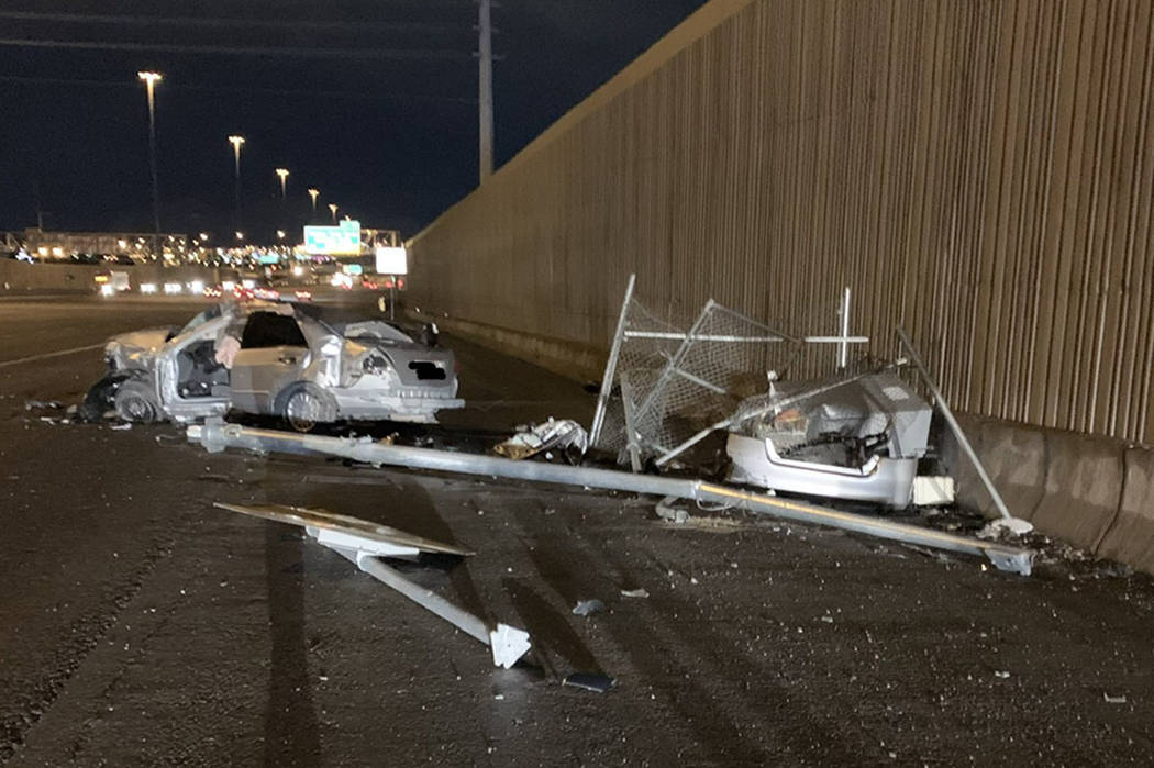The Nevada Highway Patrol investigates a single-car crash that left one person dead on southbound U.S. Highway 95 near Jones Boulevard in Las Vegas on Saturday, Feb. 17, 2019. (NHP)