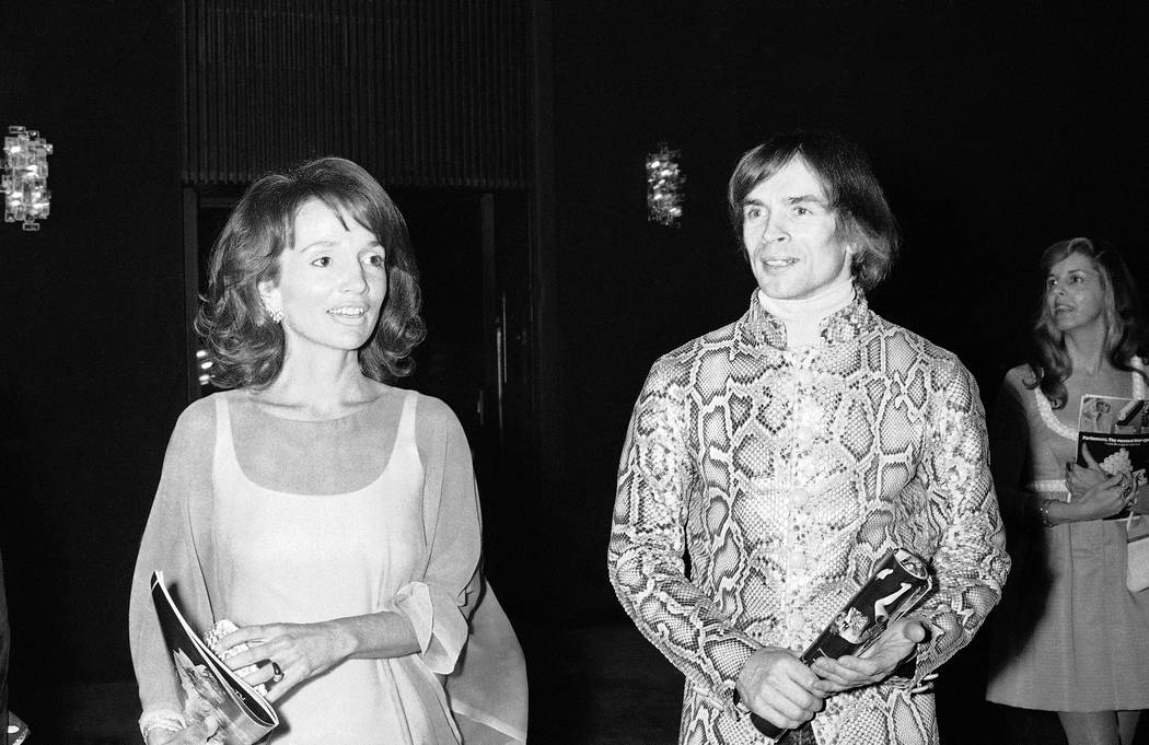 "FILE - In this May 8, 1974 file photo, dancer Rudolf Nureyev, right, and Princess Lee Radziwill talk together during intermission at a performance of ""Manon"" by the Royal Ballet at the M ..."