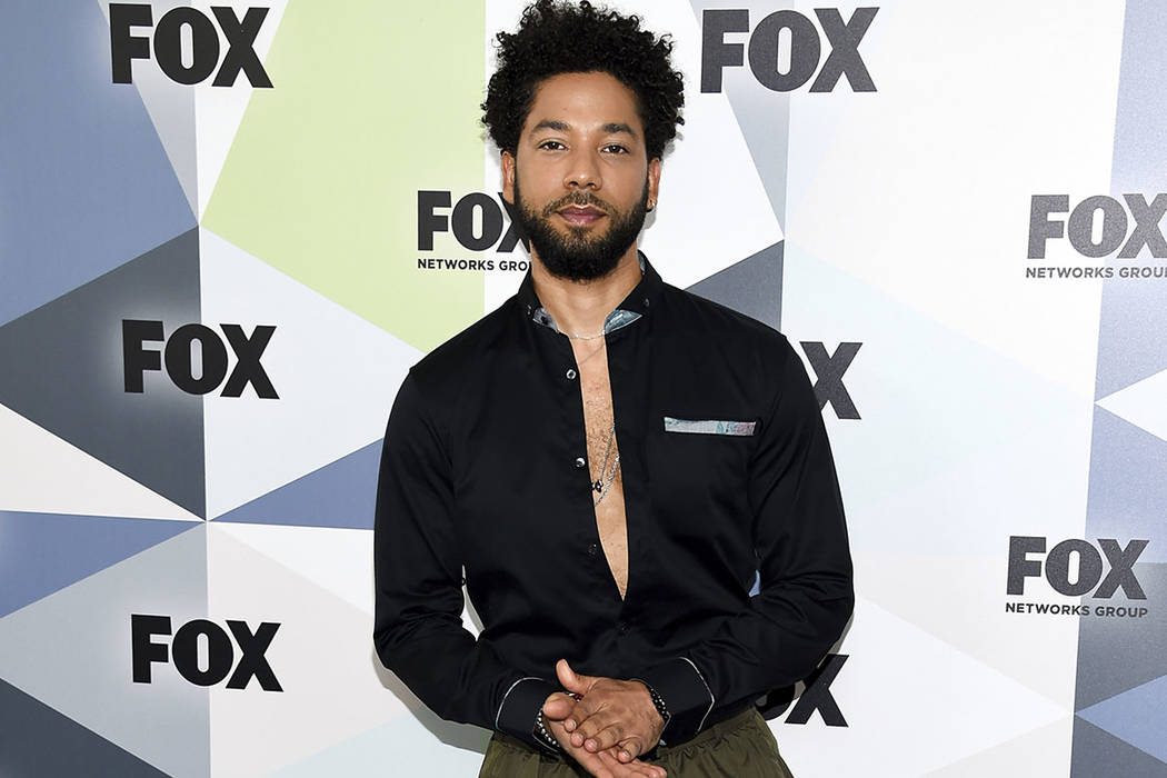 FILE - In this Monday, May 14, 2018 file photo, actor and singer Jussie Smollett attends the Fox Networks Group 2018 programming presentation after party at Wollman Rink in Central Park in New Yor ...