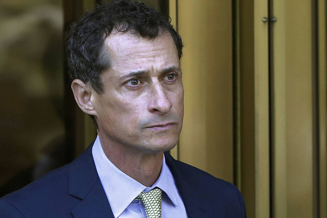 In this Sept. 25, 2017 file photo, former Congressman Anthony Weiner leaves federal court following his sentencing in New York. Weiner has been released from federal prison in Massachusetts. The N ...