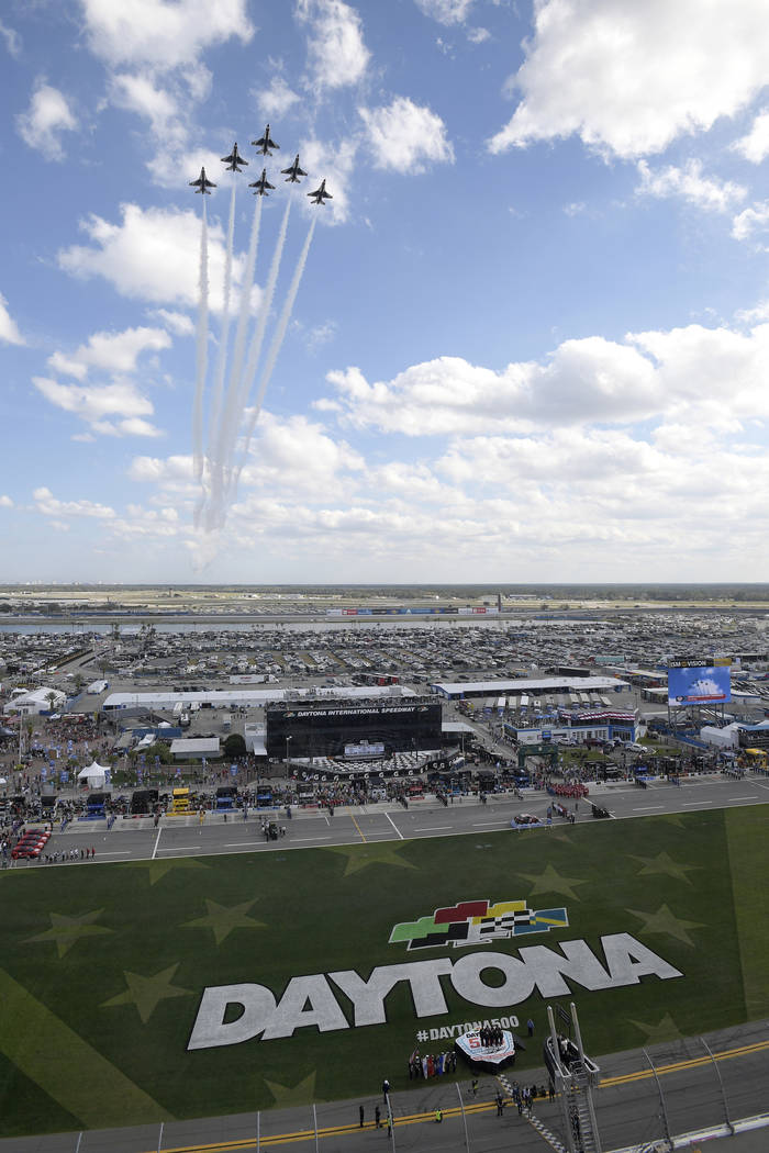 The U.S. Air Force Thunderbirds perform a flyover during the singing of the national anthem before a NASCAR Daytona 500 auto race at Daytona International Speedway, Sunday, Feb. 17, 2019, in Dayto ...