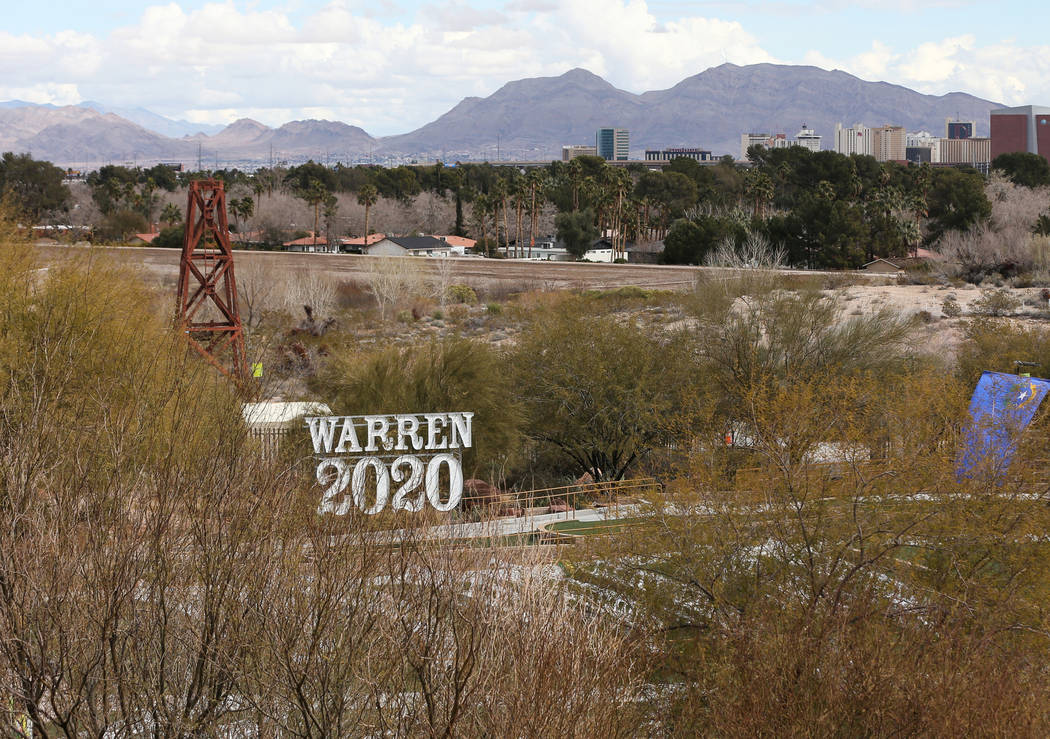 The stage is set for Elizabeth Warren at Springs Preserve in Las Vegas, Sunday, Feb. 17, 2019. (Caroline Brehman/Las Vegas Review-Journal) @carolinebrehman