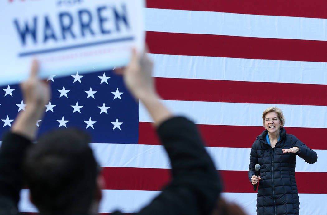 Elizabeth Warren delivers a speech about her platform to run for President of the United States in 2020 at Springs Preserve in Las Vegas, Sunday, Feb. 17, 2019. (Caroline Brehman/Las Vegas Review- ...