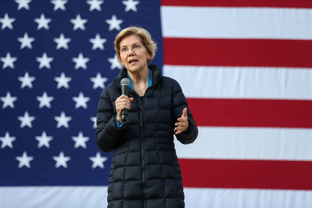 Elizabeth Warren speaks about her platform to run for President of the United States in 2020 at Springs Preserve in Las Vegas, Sunday, Feb. 17, 2019. (Caroline Brehman/Las Vegas Review-Journal) @c ...