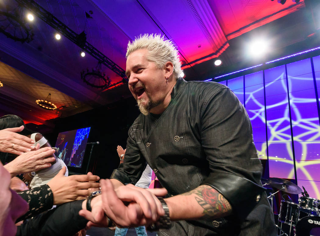 Star chef Guy Fieri is shown at the Vegas Heroes Dinner at Caesars Palace on Saturday, Feb. 11, 2018 (Kabik Photo Group)
