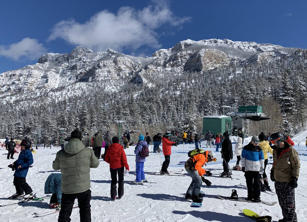 Skiers take advantage of fresh snow at Lee Canyon outside Las Vegas on Monday, Feb. 18, 2019. Mount Charleston received nearly four inches of snow on Sunday according to the National Weather Servi ...