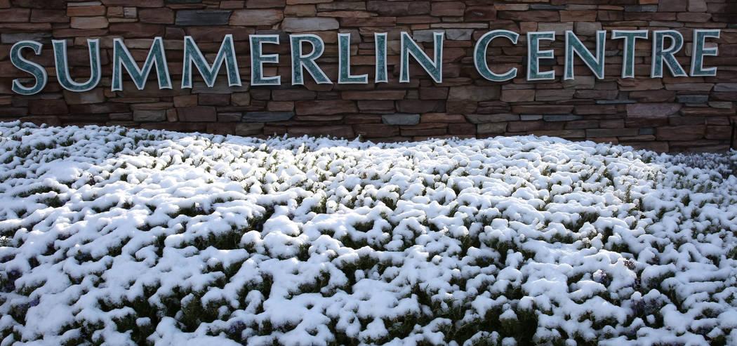 Summerlin Center sign is seen after snow fell on Monday, Feb. 18, 2019, in Las Vegas. (Bizuayehu Tesfaye/Las Vegas Review-Journal) @bizutesfaye