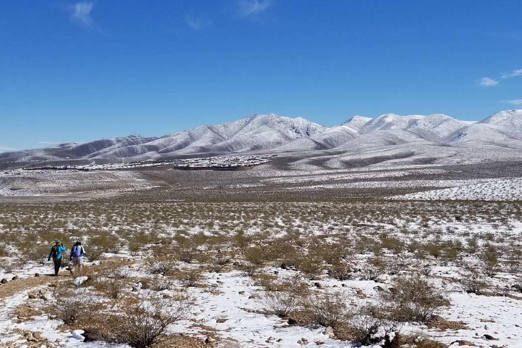 Snowfall at Sloan Canyon National Conservation Area near Henderson, Monday, Feb. 18, 2019. (Natalie Burt/Las Vegas Review-Journal)