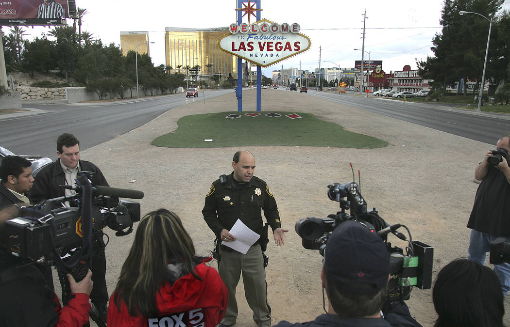 Las Vegas police public information officer Jose Montoya speaks during a news conference in the median on Las Vegas Boulevard near the Welcome to Fabulous Las Vegas Sign Monday, Feb. 19, 2007. Mon ...