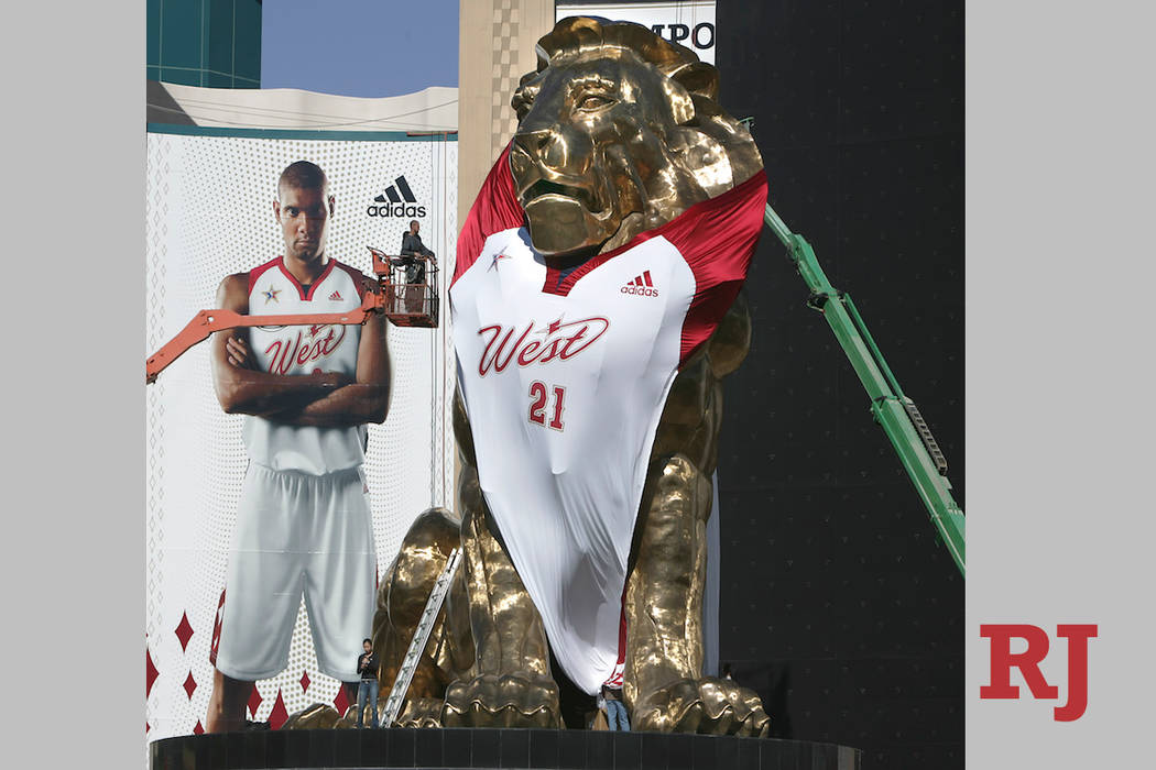 The MGM Grand outfitted the lion over their entrance in the newly designed NBA Western Conference jersey. The promotional event is part of the NBA Allstar Game in Las Vegas on Feb. 18, 2007. (John ...