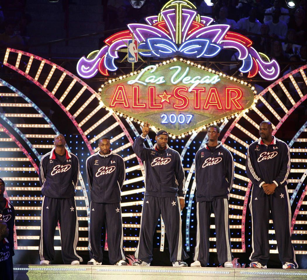 NBA Eastern Conference starting players are introduced prior to the start of the 2007 NBA All-Star basketball game at the Thomas & Mack Center Sunday Feb. 18, 2007, in Las Vegas. (Las Vegas Review ...