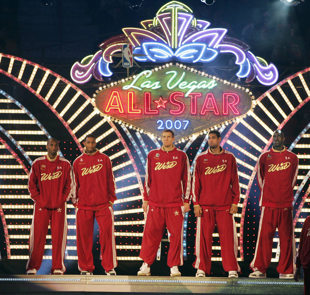 NBA Western Conference starting players are introduced prior to the start of the 2007 NBA All-Star basketball game at the Thomas & Mack Center Sunday Feb. 18, 2007, in Las Vegas. (Las Vegas Revie ...