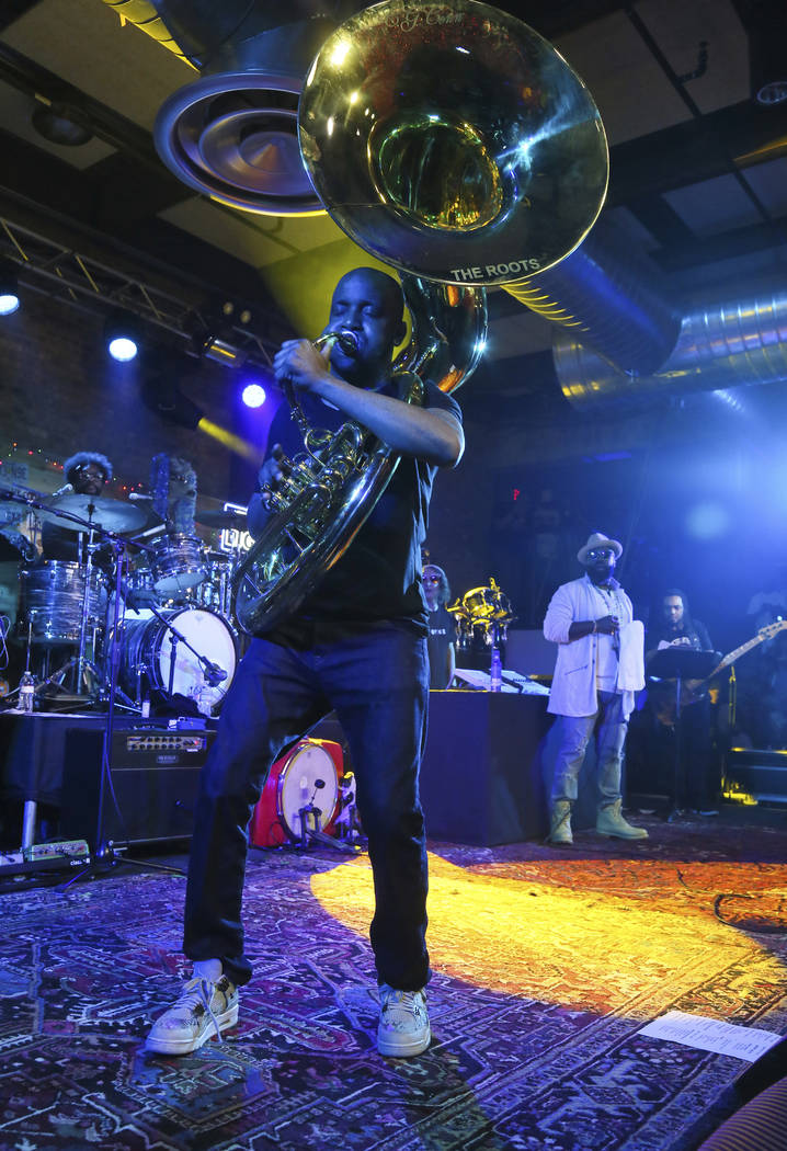 The Roots perform during the Bud Light x The Roots and Friends Jam Session at 800 Congress during the South by Southwest Music Festival on Saturday, March 18, 2017, in Austin, Texas. (Photo by Jac ...