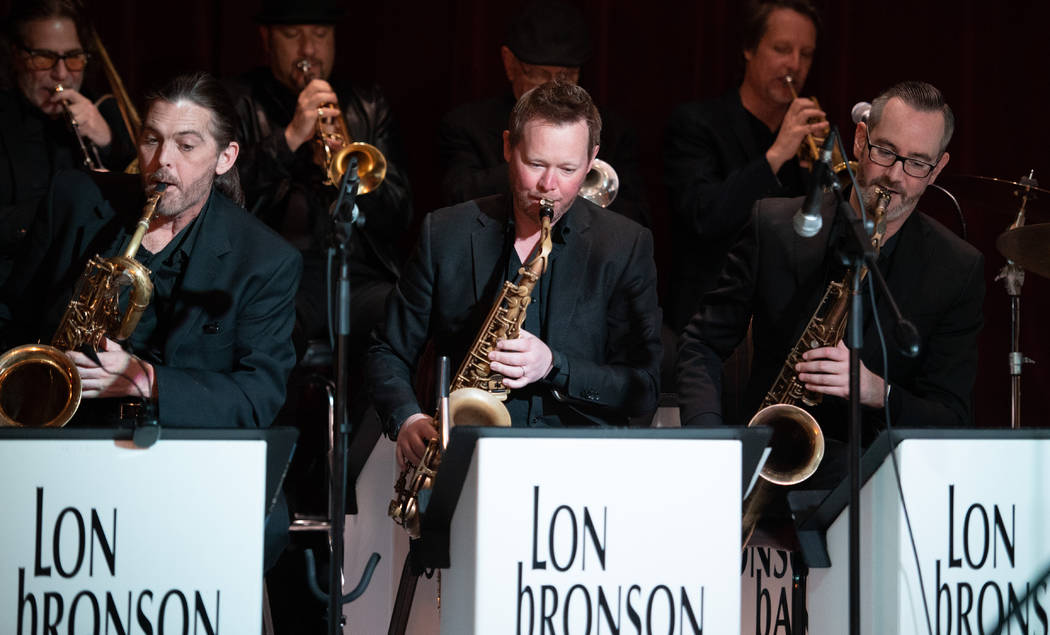 """Members of the Lon Bronson Band, from left, Steve Dawson, Rob Stone and Andrew """"The Fury"""" Friedlander perform for longtime Las Vegas hospitality executive Michael Severino's 70th birthday party at ..."""