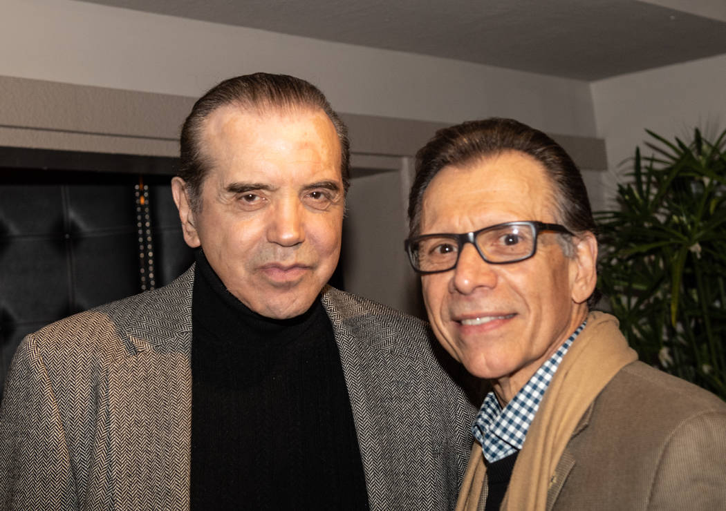 Actor Chazz Palminteri, left, is shown with longtime Las Vegas hospitality executive Michael Severino during Severino 70th birthday party at the Italian American Club on Sunday, Sept. 17, 2019. (T ...