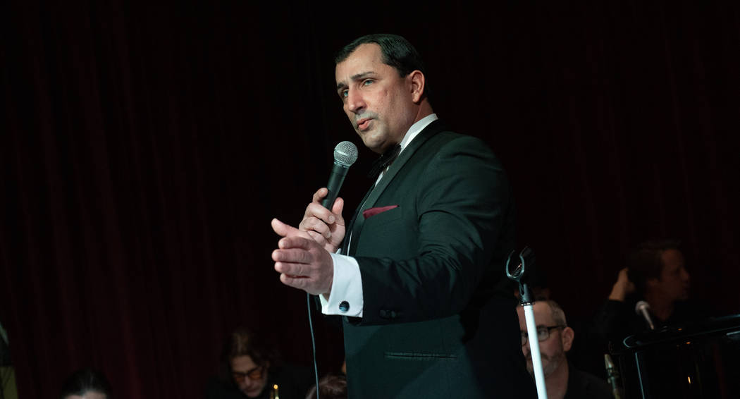 Frank Sinatra tribute artist Chris Jason performs during Michael Severino's 70th birthday party at the Italian American Club on Sunday, Sept. 17, 2019. (Tom Donoghue)