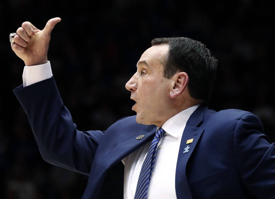 Duke Blue Devils head coach Mike Krzyzewski directs the team against North Carolina State during the second half of an NCAA college basketball game in Durham, N.C., Saturday, Feb. 16, 2019. (Chris ...