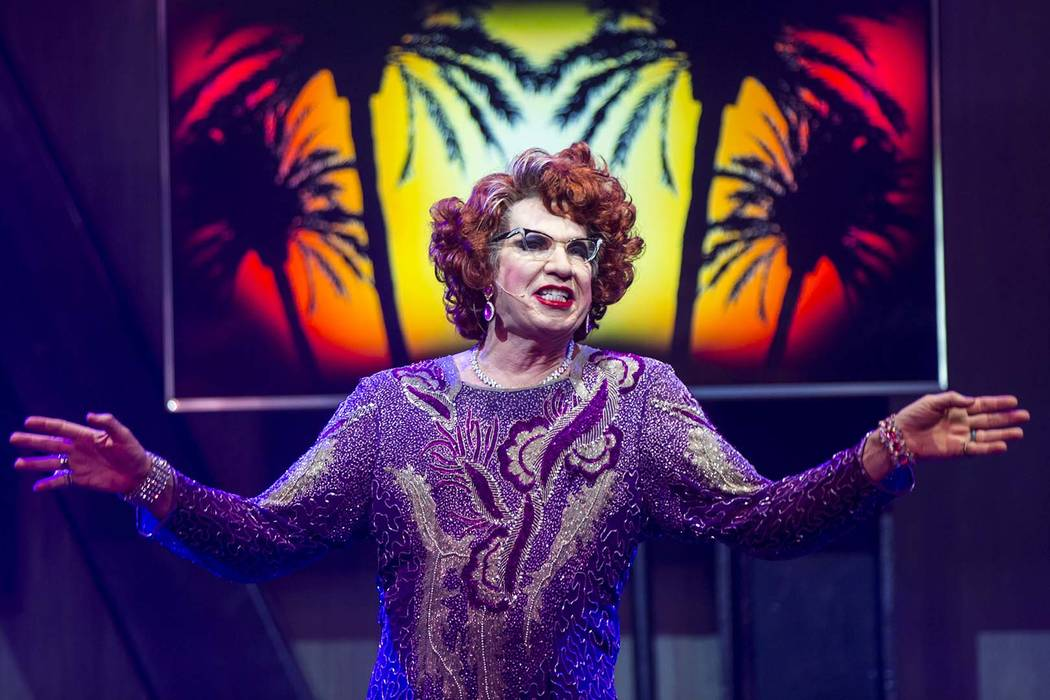 "Michael Airington performs as Ester Goldberg during a dress rehearsal of ""Ester Goldberg's Totally Outrageous Brunch,"" slated to open Feb. 23 at The Sayers Club at SLS Las Vegas in Las Vegas on Tu ..."