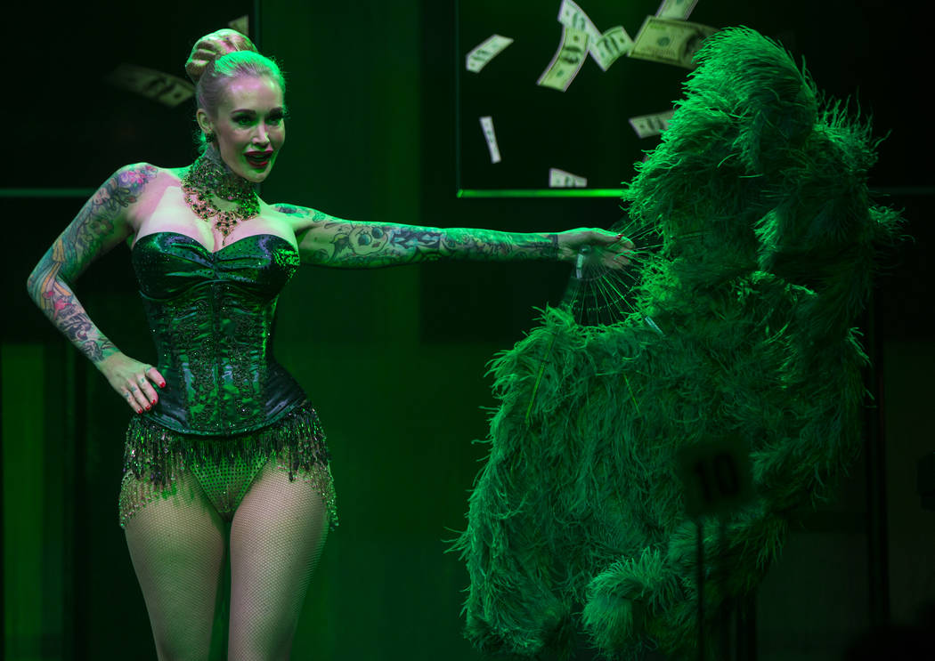 "Sabina Kelley performs during a dress rehearsal of ""Ester Goldberg's Totally Outrageous Brunch,"" slated to open Feb. 23 at The Sayers Club at SLS Las Vegas, Tuesday, Feb. 19, 2019. (Chase Stevens/ ..."