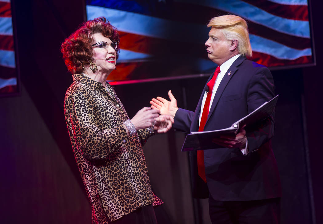 "Michael Airington performs as Ester Goldberg with John Di Domenico as President Donald Trump during a dress rehearsal of ""Ester Goldberg's Totally Outrageous Brunch,"" slated to open Feb. 23 at The ..."