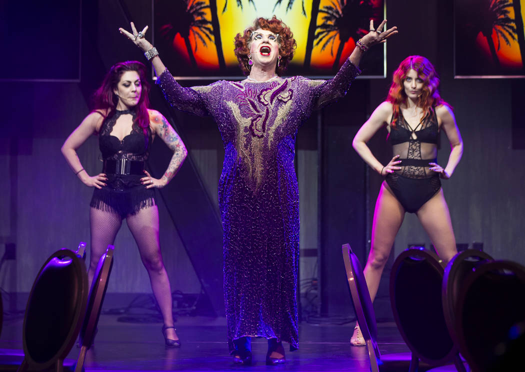 "Michael Airington performs as Ester Goldberg, center, alongside Cassie Stone, left, and Anne Martinez during a dress rehearsal of ""Ester Goldberg's Totally Outrageous Brunch,"" slated to open Feb. ..."