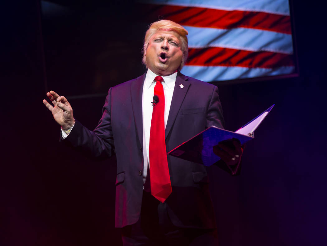 "John Di Domenico performs as President Donald Trump during a dress rehearsal of ""Ester Goldberg's Totally Outrageous Brunch,"" slated to open Feb. 23 at The Sayers Club at SLS Las Vegas, Tuesday, F ..."