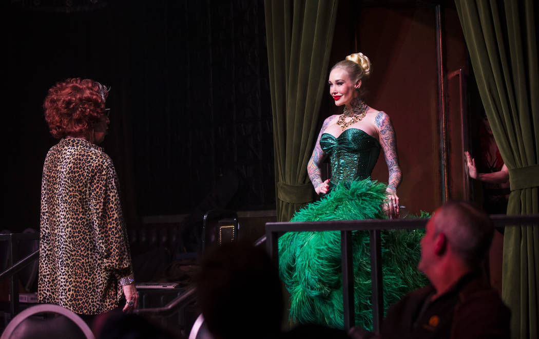 "Michael Airington performs as Ester Goldberg, left, with Sabina Kelley during a dress rehearsal of ""Ester Goldberg's Totally Outrageous Brunch,"" slated to open Feb. 23 at The Sayers Club at SLS La ..."