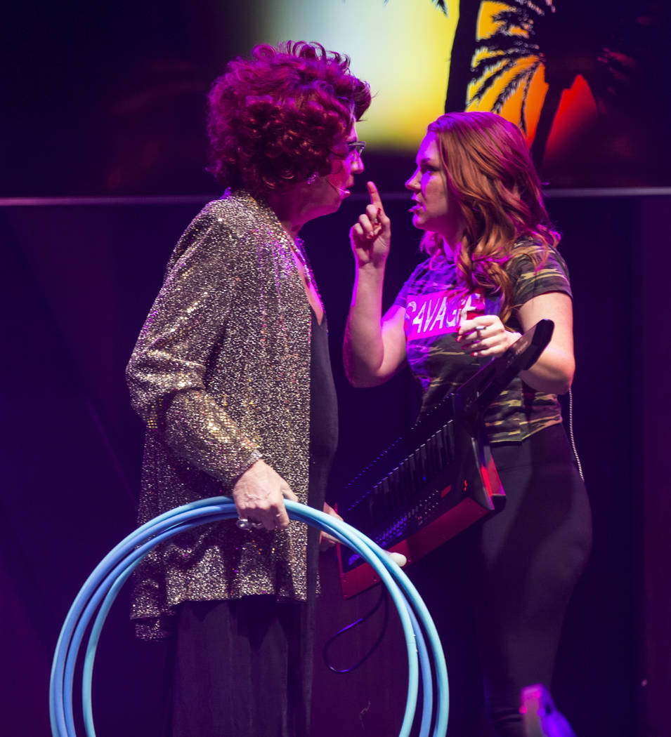 "Michael Airington performs as Ester Goldberg, left, with Sarah Hester Ross during a dress rehearsal of ""Ester Goldberg's Totally Outrageous Brunch,"" slated to open Feb. 23 at The Sayers Club at SL ..."