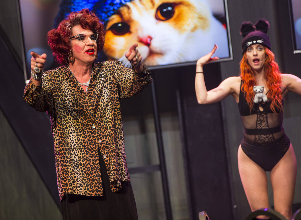 "Michael Airington performs as Ester Goldberg, left, alongside Anne Martinez during a dress rehearsal of ""Ester Goldberg's Totally Outrageous Brunch,"" slated to open Feb. 23 at The Sayers Club at S ..."