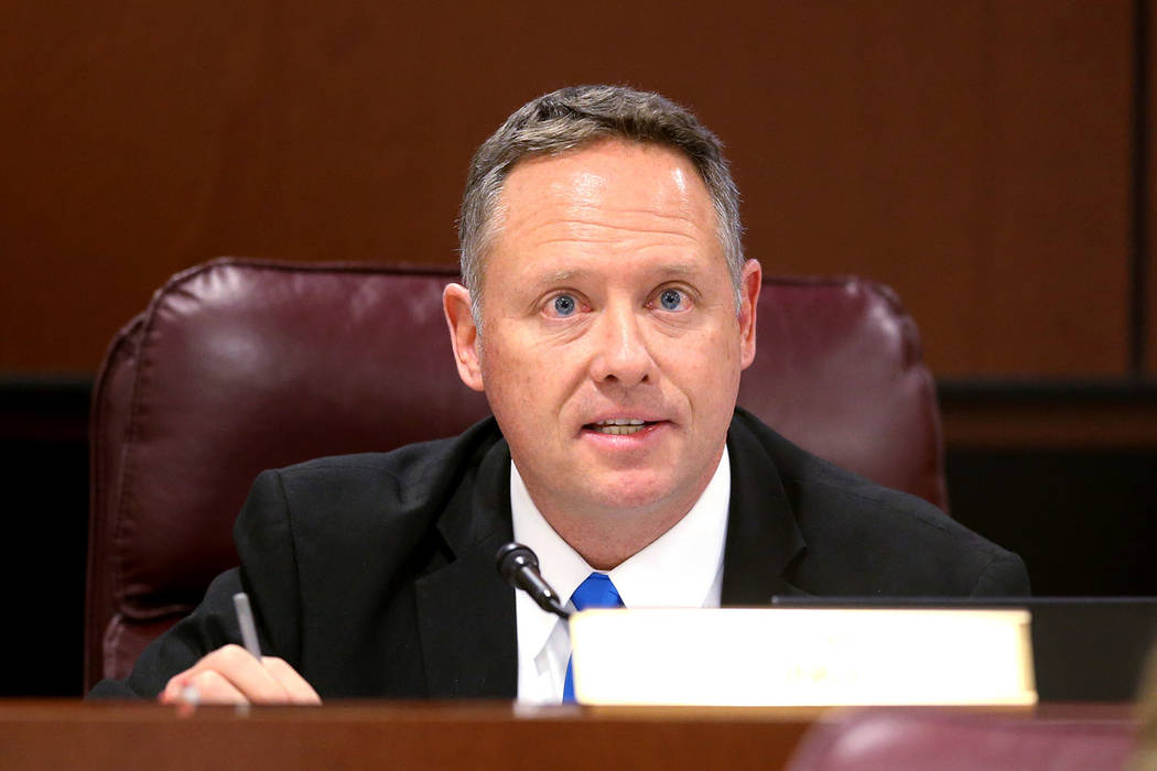 Assemblyman Michael Sprinkle, D-Sparks, asks a question during an Education Committee meeting in the Legislative Building in Carson City Wednesday, Feb. 6, 2019. (K.M. Cannon/Las Vegas Review-Jour ...