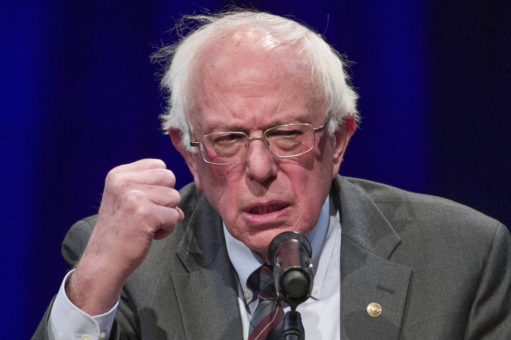 FILE - In this Nov. 27, 2018, file photo, Sen. Bernie Sanders, I-Vt., speaks about his new book, 'Where We Go From Here: Two Years in the Resistance', at a George Washington University/Politics an ...