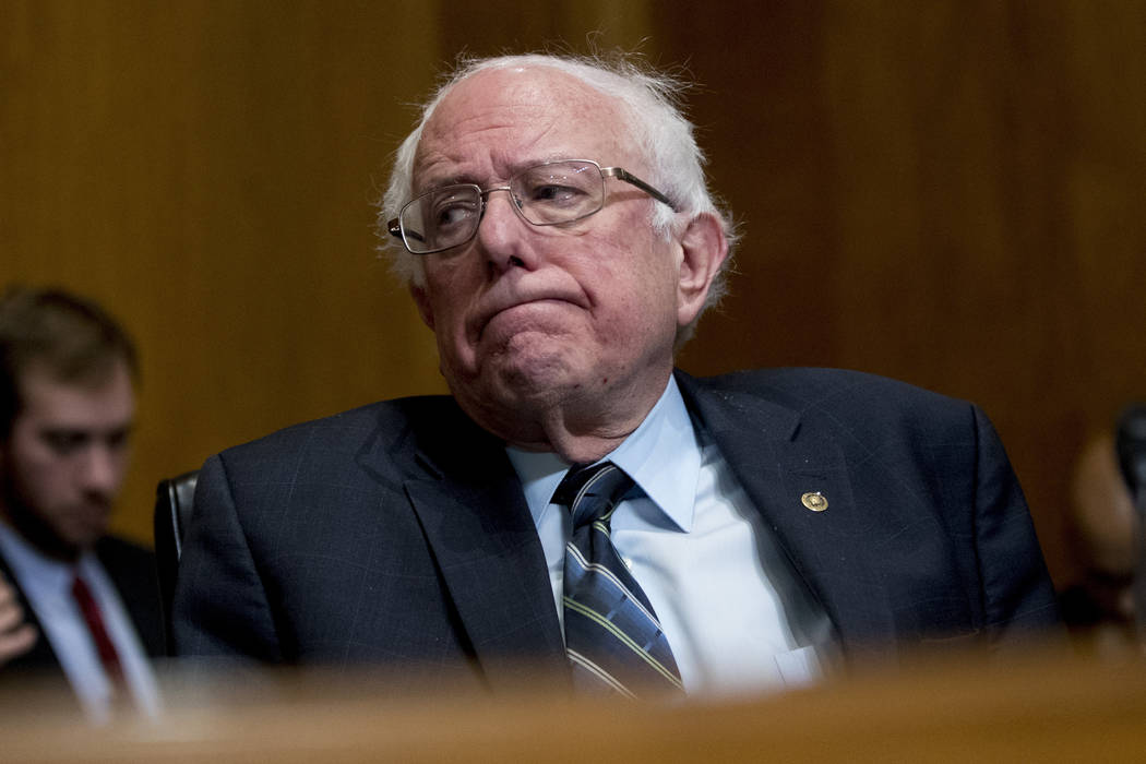In this Jan. 16, 2019, photo, Sen. Bernie Sanders, I-Vt., reacts during a hearing on Capitol Hill in Washington. Sanders on Tuesday, Feb. 19, 2019, announced he will run for president in 2020. (An ...