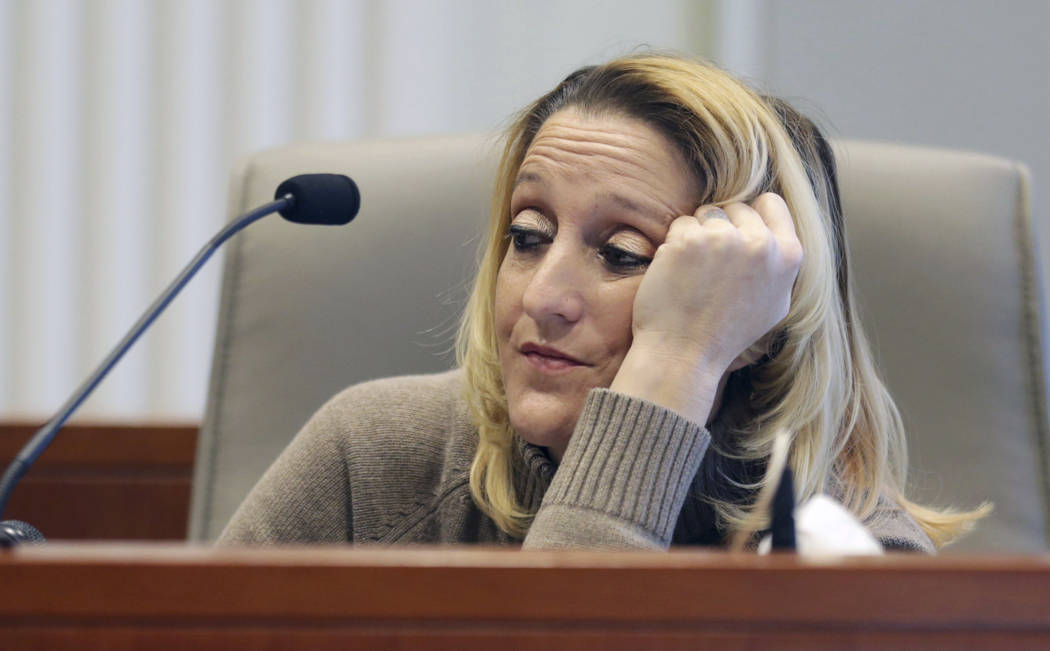 Lisa Britt pauses before answering a question by executive director of the Board of Elections Kim Strach during the public evidentiary hearing on the 9th Congressional District investigation Monda ...