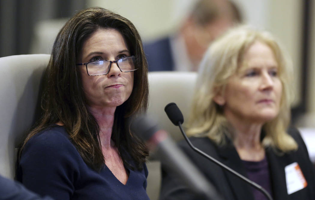 Executive director of the Board of Elections Kim Strach listens during the public evidentiary hearing on the 9th Congressional District investigation Monday, Feb. 18, 2019, at the North Carolina S ...