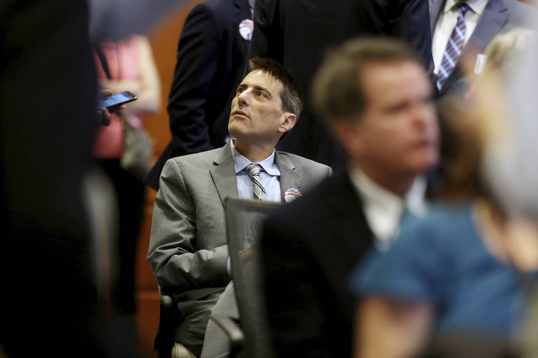 Executive director of the North Carolina Republican party Dallas Woodhouse is seated in the crowd during the public evidentiary hearing on the 9th Congressional District investigation Monday, Feb. ...