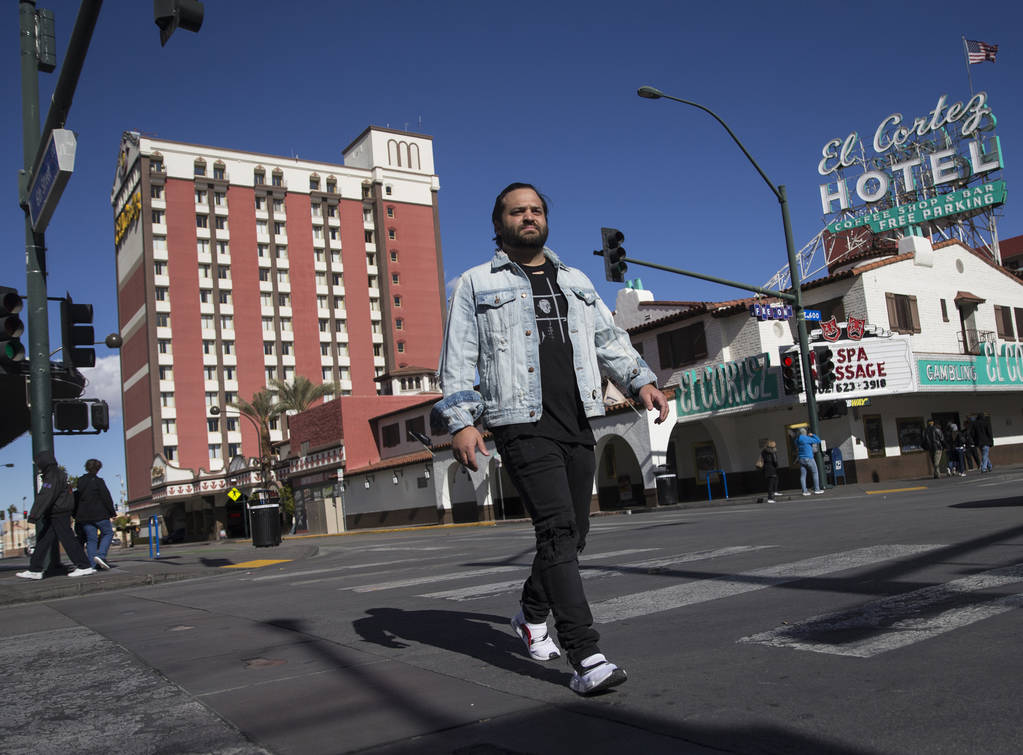 Owner/restaurateur Marc Marrone is working on the rooftop of a future restaurant he's developing at 201 Las Vegas Blvd. South in downtown Las Vegas. (Benjamin Hager Review-Journal) @BenjaminHphoto